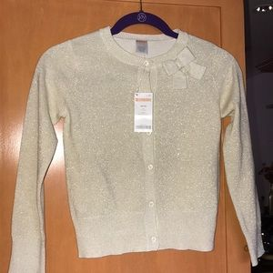 Gymboree Metallic Gold Cardigan 7/8 w/bow detail